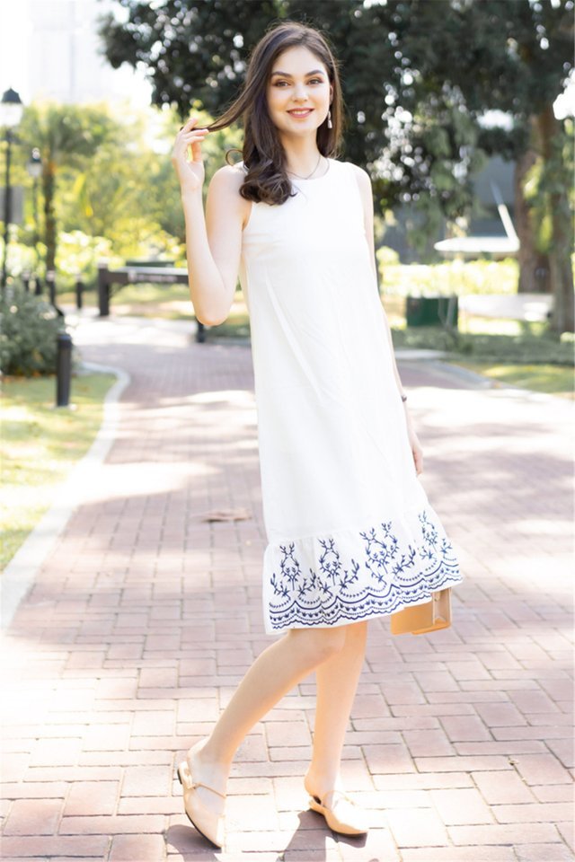 Embroidered Hem Dropwaist Midi Dress in White