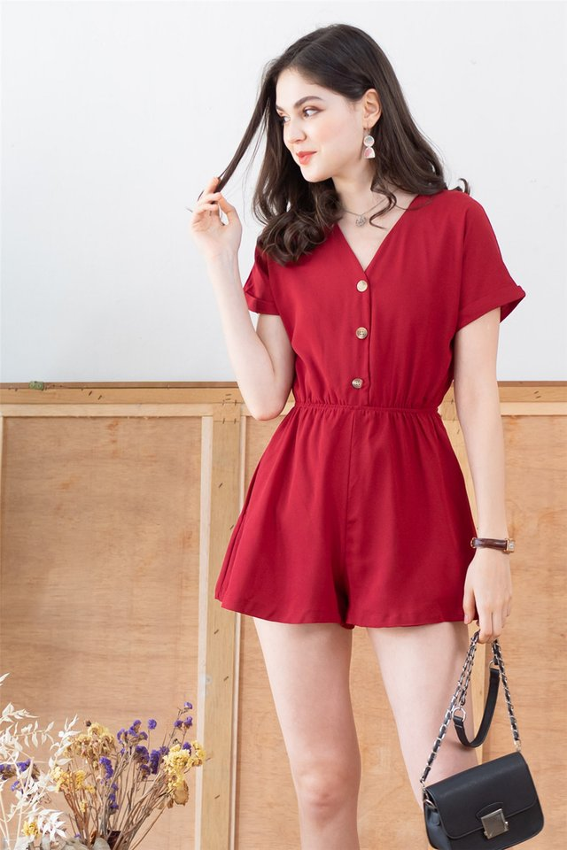*BACK IN STOCK* Button Down Romper in Wine
