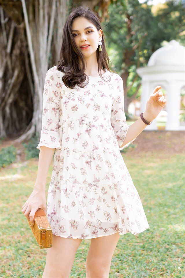 ACW Bouquet Floral Bell Sleeve Dress in Ivory
