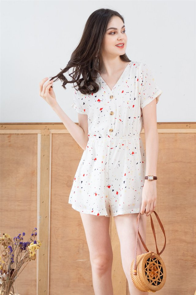 *BACK IN STOCK* Button Down Romper in White Confetti