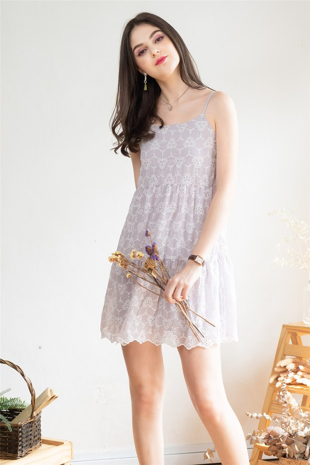 ACW Floral Eyelet Tiered Babydoll Dress in Dusty Grey