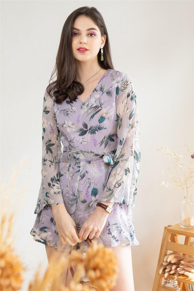 ACW Lilac Watercolour Floral Sleeve Romper