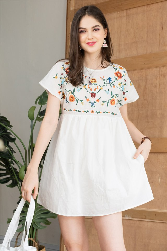 ACW Embroidery Romper Dress in White