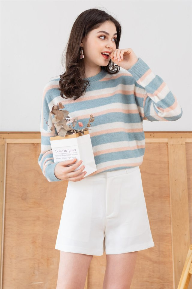 Colourblock Stripe Cozy Knit Sweater in Blue