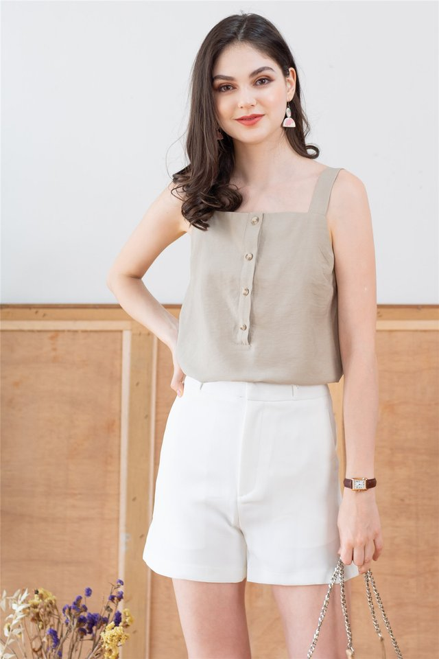 ACW Button Down Strap Basic Top in Matcha