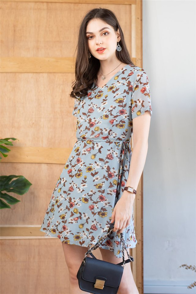 ACW Rose Garden Sash Swing Dress in Blue
