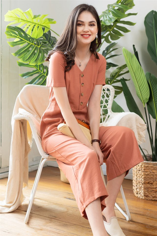 ACW Sleeved Button Panel Jumpsuit in Peach
