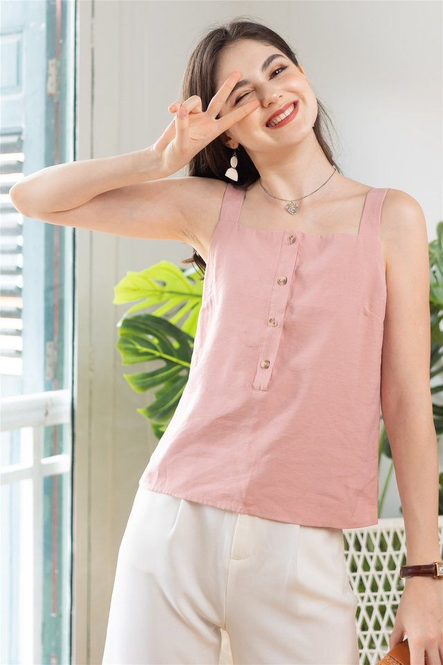 ACW Button Down Strap Basic Top in Dusty Pink