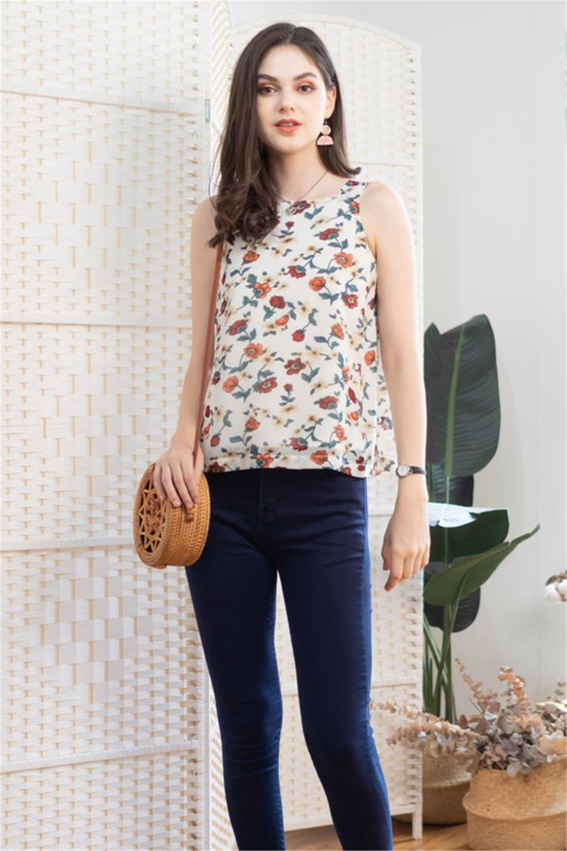 Botanic Floral Cut In Top in Ivory