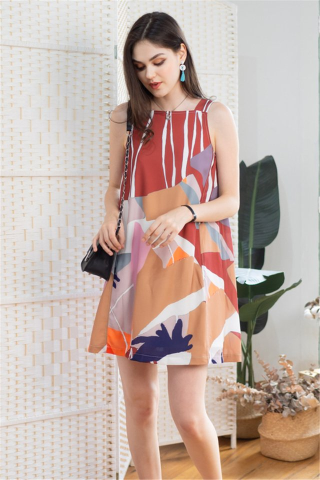 Watercolour Prints Cut In Shift Dress in Wine