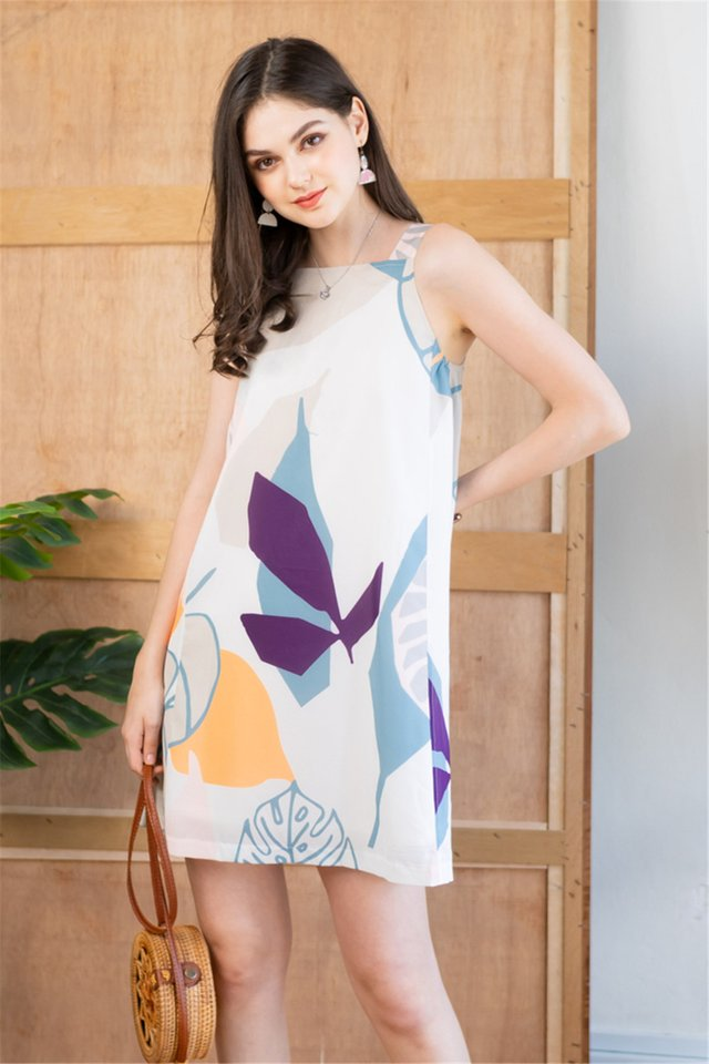 Watercolour Prints Cut In Shift Dress in White