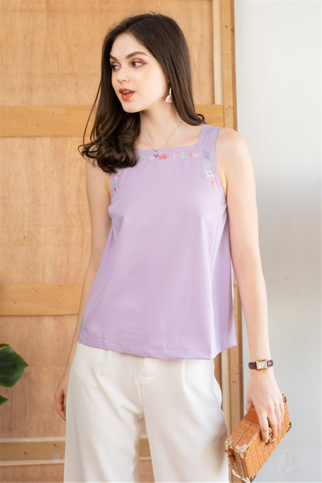 Drawn Pastel Embroidery Cut In Top in Lilac