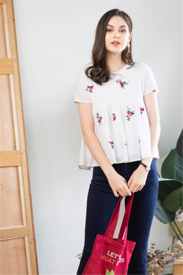Leaf Embroidery Sleeve Babydoll Top
