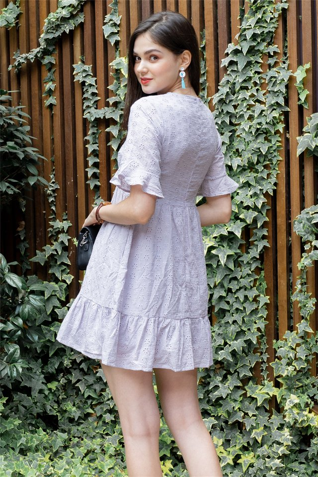 *Backorder* Eyelet Sleeved Babydoll Dress in Dusty Grey