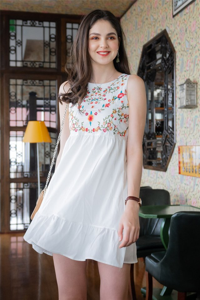 ACW Poppy Floral Embroidery Dropwaist Babydoll Dress in White