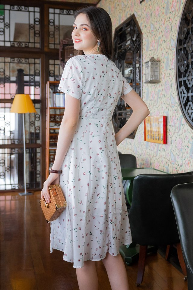 *Backorder* Fleur Floral Wrap Midi Swing Dress in White