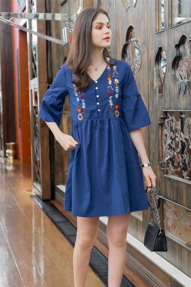 ACW Dahlia Embroidery Bell Sleeve Dress in Navy