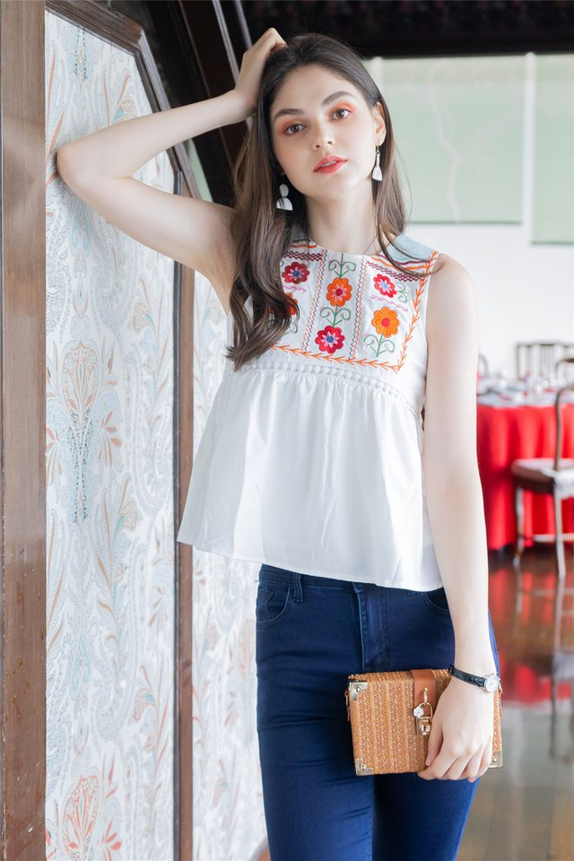 ACW Saffron Floral Embroidery Swing Top in White