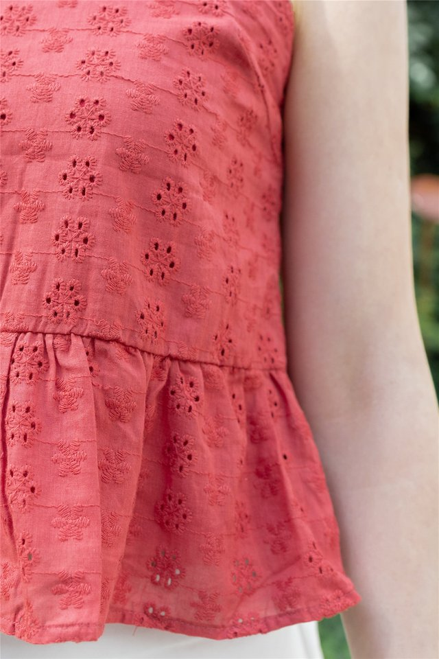 Eyelet Cut In Peplum Top in Brick Red