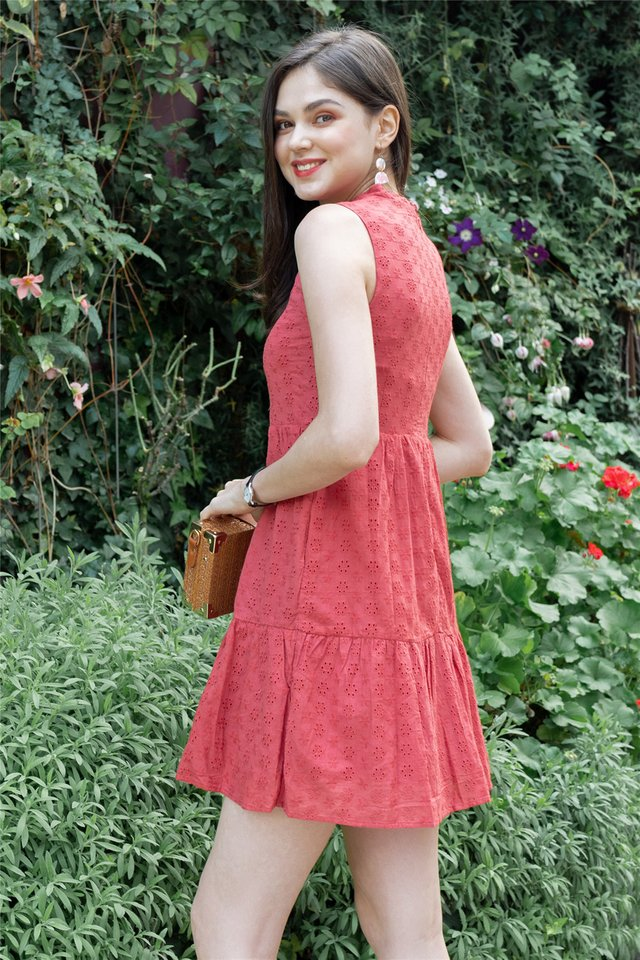 *BACK IN STOCK* Eyelet Mandarin Collar Babydoll Dress in Brick Red
