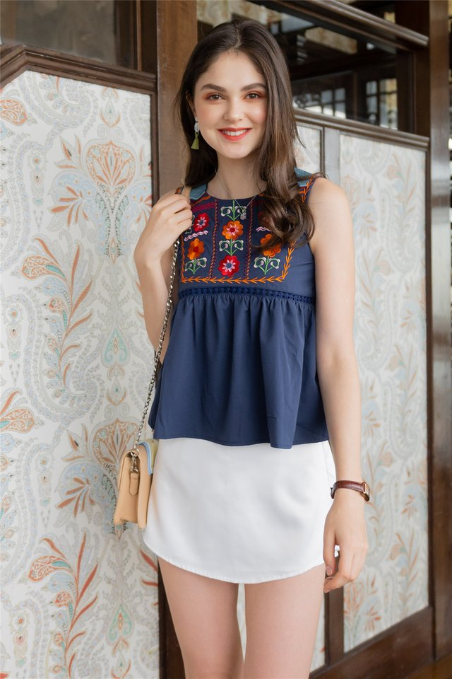 ACW Saffron Floral Embroidery Swing Top in Navy