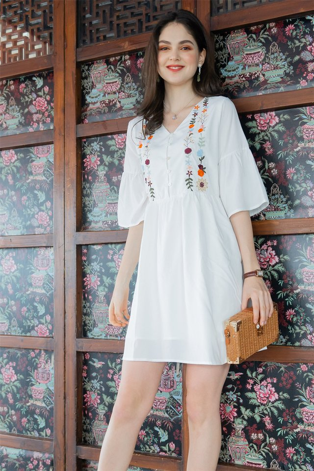 ACW Dahlia Embroidery Bell Sleeve Dress in White