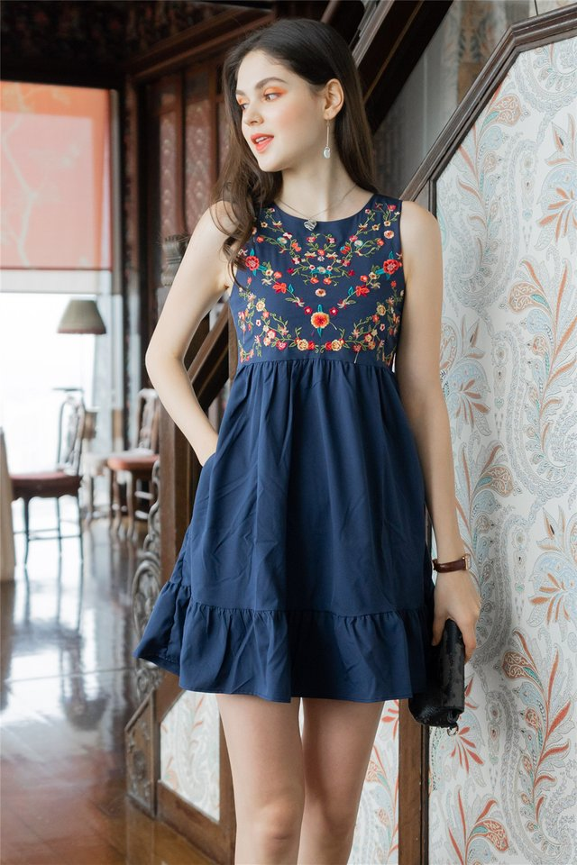 ACW Poppy Floral Embroidery Dropwaist Babydoll Dress in Navy