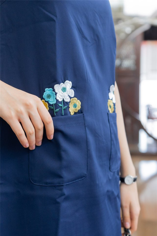 Blooming Embroidery Pocket Shift Dress in Navy