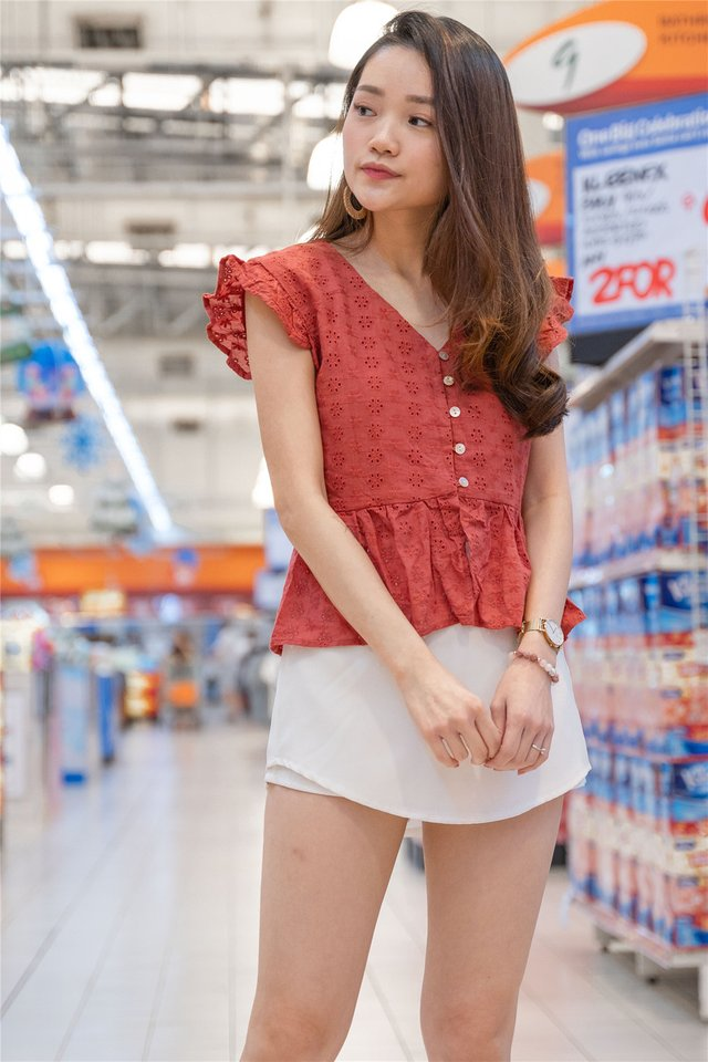 Eyelet Button Frill Sleeve Top in Brick Red