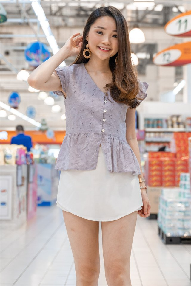 *Backorder* Eyelet Button Frill Sleeve Top in Dusty Grey