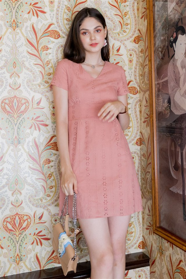 ACW Eyelet Panels Sleeve Sheath Dress in Dusty Pink