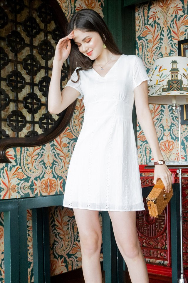 ACW Eyelet Panels Sleeve Sheath Dress in White