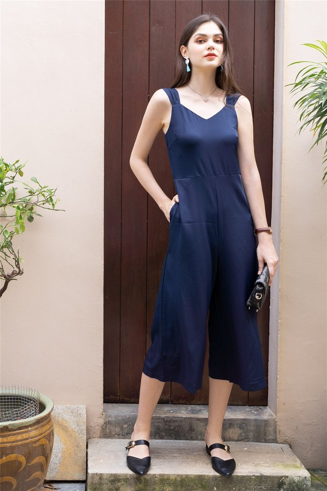 Twist Strap Jumpsuit in Navy