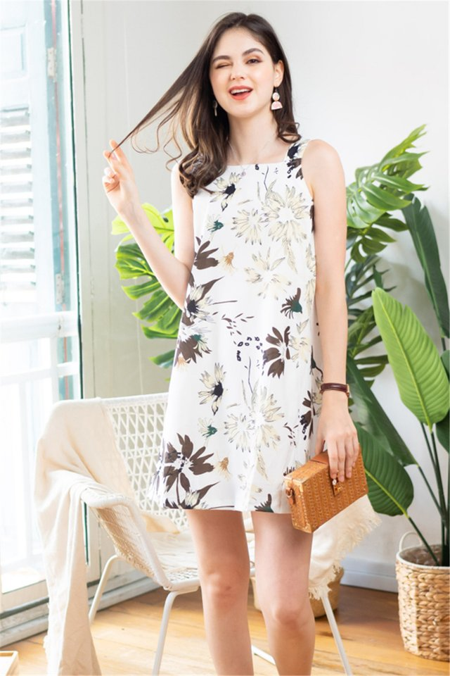 ACW Wild Floral Cut In Shift Dress in White