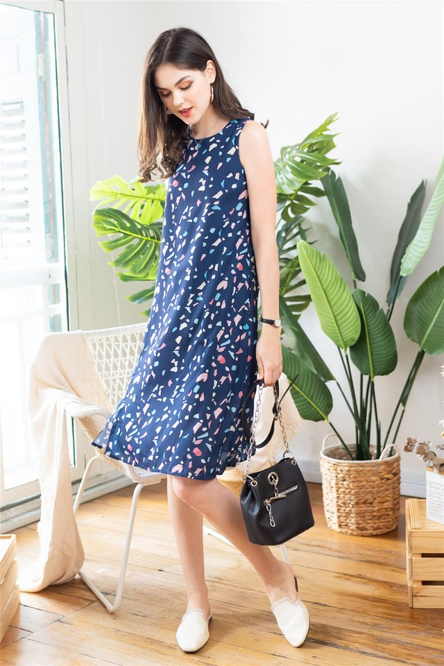 ACW Basic Slit Midi Dress in Navy Pop Rock Prints