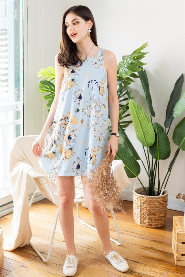 ACW Wild Floral Cut In Shift Dress in Blue