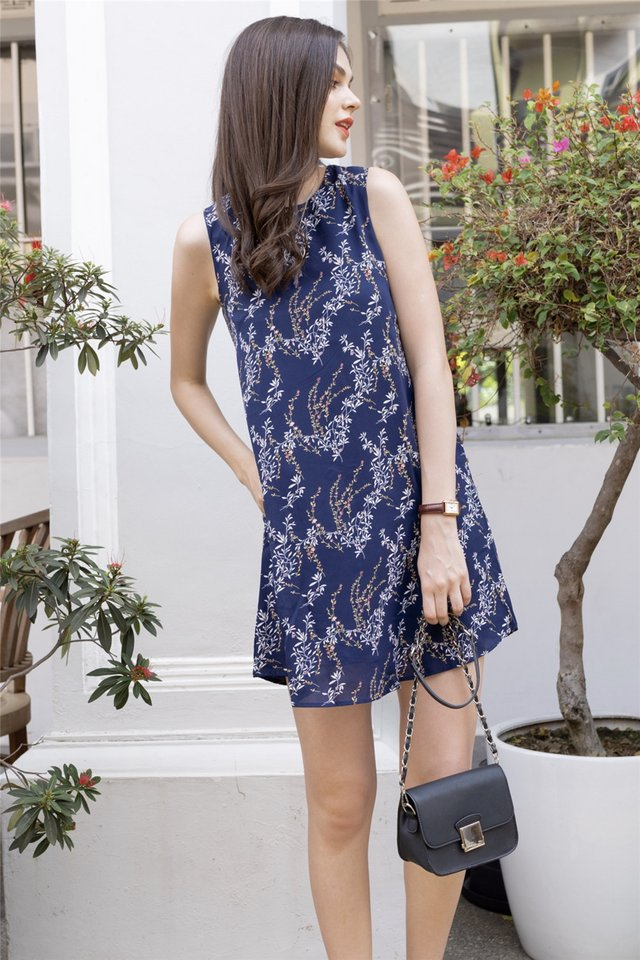 ACW Wheat Florals Trapeze Dress in Navy