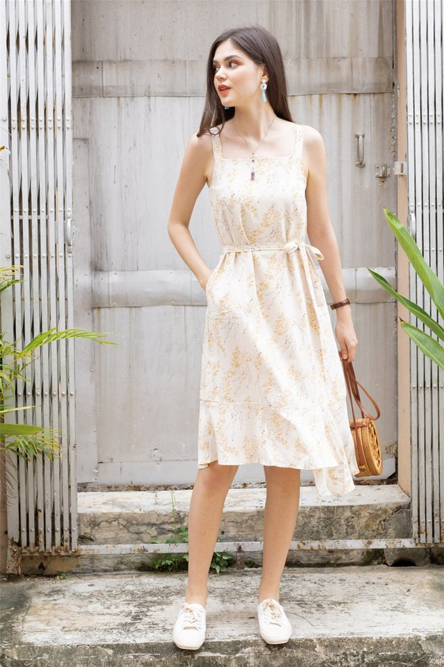 ACW Tiered Hem Midi Dress in Ivory Wheat Florals