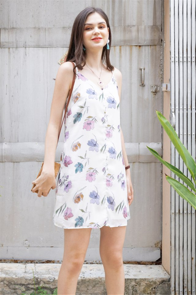 ACW Drawn Coloured Florals Button Cami Dress in White