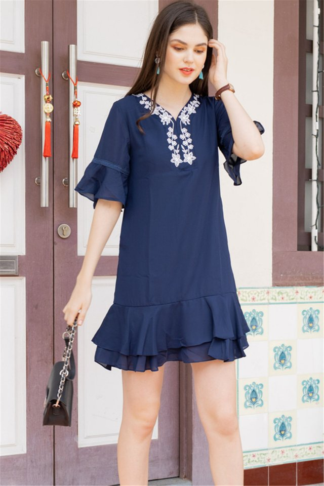 Embroidery Panel Flutter Sleeve Tiered Dress in Navy