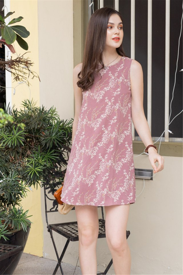 ACW Wheat Florals Trapeze Dress in Dusty Rose