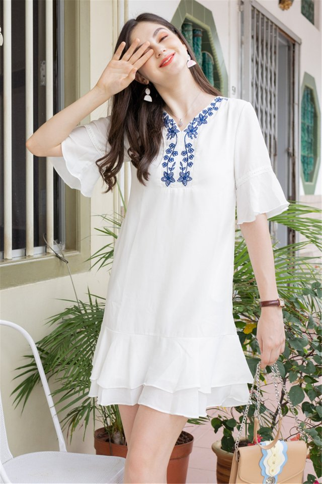 Embroidery Panel Flutter Sleeve Tiered Dress in White