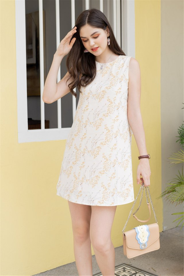 ACW Wheat Florals Trapeze Dress in Ivory