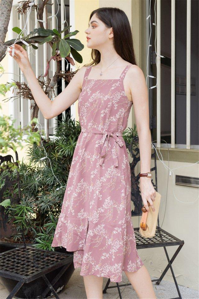 ACW Tiered Hem Midi Dress in Dusty Rose Wheat Florals