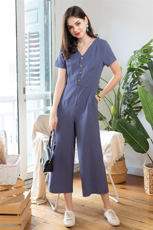 ACW Sleeved Button Panel Jumpsuit in Ash Blue