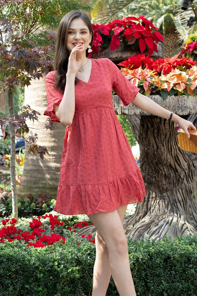 Eyelet Sleeved Babydoll Dress in Brick Red