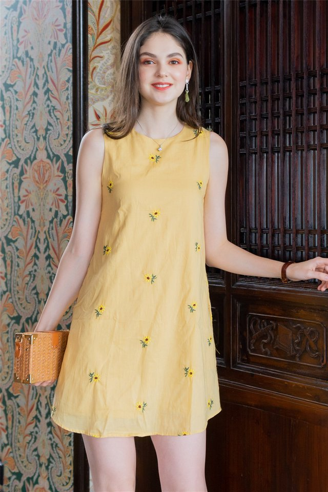*Backorder* ACW Yellow Sunflower Embroidery Trapeze Dress