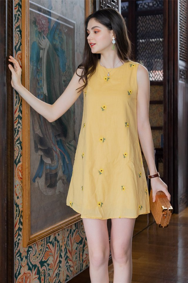 *BACK IN STOCK* ACW Yellow Sunflower Embroidery Trapeze Dress