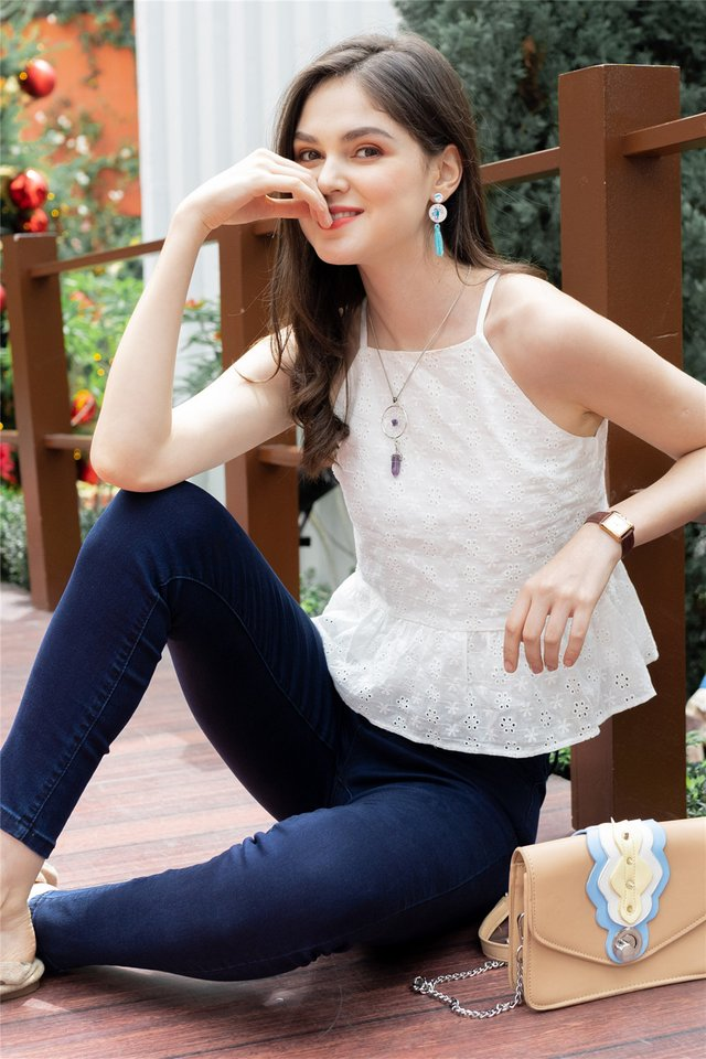 Eyelet Cut In Peplum Top in White
