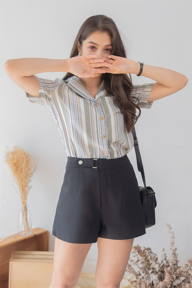 *Backorder* Buckle High Waisted Shorts in Black
